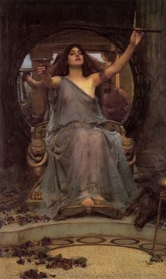 """Circe Offering the Cup to Ulysses""  by John William Waterhouse  1891  Oil on canvas  149 cm × 92 cm (59 in × 36 in)  Oldham Art Gallery, Oldham"