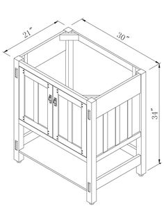 "30"" American Craftsman Single Vanity - Dimensions"