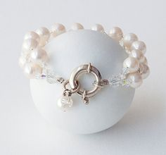 White Pearl Bracelet, Natural Freshwater Pearls and Clear Crystal Bridal Bracelet, Pearl Anniversary/Wedding Bracelet, White Pearl Jewelry Crystal Bracelets, Pearl Bracelet, Pearl Jewelry, Bridal Jewelry, White Freshwater Pearl, Pearl White, Pearl Anniversary, Greek Jewelry, June Birth Stone