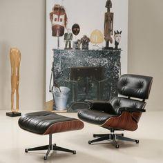 Fantastisch Eames Lounge Chair Und Ottomane   Schwarz Mit Rosenholz