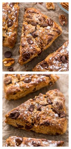 Chocolate Pecan Scones are flaky, buttery, and loaded with pecans and chocolate chips! Perfect for breakfast or brunch! Baking Recipes, Dessert Recipes, Tea Recipes, Cake Recipes, Flaky Biscuits, Scones Ingredients, Brunch, Vegetarian Chocolate, Butter