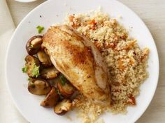 Chicken and Mushrooms with Couscous #chicken #mushrooms #recipes #wine