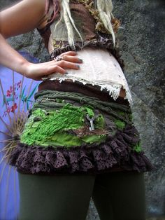 Woodland Tribal Tattered Ruffle Skirt free size. $140.00, via Etsy.