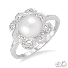 Pearl and single cut diamond ring in sterling silver