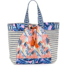 Maaji Multi-Print Beach Tote Bag ($110) ❤ liked on Polyvore featuring bags, handbags, tote bags, multi, white tote bag, colorful tote bags, drawstring handbags, colorful purses and white purse