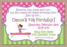 12 Girl Gymnastics Gymnast Gym Party Birthday by ohsuzyqdesigns, $12.95