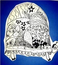 Turtle zentangle - zen tangle for kids