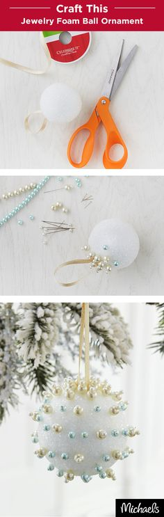 Craft elegant ornaments with Styrofoam balls and jewelry! First, add a ribbon loop and secure with hot glue. Then add pearl beads with jewelry pins in a design of your choice. You can make each orname (Diy Ornaments Styrofoam) Christmas Gift Decorations, Holiday Crafts, Holiday Fun, Christmas Balls, Christmas Time, Xmas, Christmas Ornaments, Craft Activities For Kids, Crafts For Kids