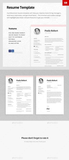 Resume Template, Professional resume template and Professional - attractive resume templates