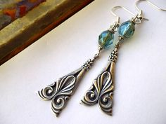 Antique Silver Drop Earrings / Aqua by SandysTreasureIsland, $8.00