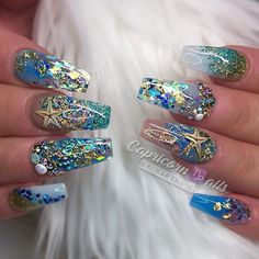 mermaid nails 46 Creative Ocean Nail Art Design Ideas Best For Summer Nail Art Designs, Crazy Nail Designs, Ongles Bling Bling, Bling Nails, Ocean Nail Art, Aquarium Nails, Cruise Nails, Sea Nails, Nagel Bling
