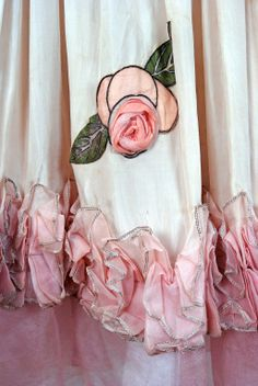 Detail of a rose on a 1924 Jeanne Lanvin Haute-Couture  Robe De Style Dress
