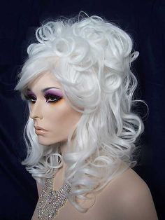 Nirvana Casha Bee Hive Wig, White Blonde. Cascading Curls. So much fun. Very limited quantities.