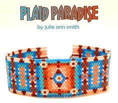 PLAID PARADISE Beaded Bracelet Pattern | Bead-Patterns.com