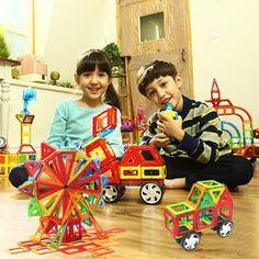 23PCS Mini Enlighten Bricks Educational Magnetic Designer Toy Square Triangle DIY Building Blocks Toys For Children