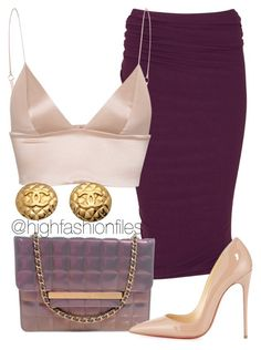 """""""Purples and nude"""" by highfashionfiles ❤ liked on Polyvore featuring Donna Karan, Chanel, T By Alexander Wang and Christian Louboutin"""