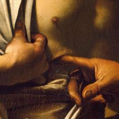 The Incredulity of Saint Thomas (detail) by Caravaggio (1601-02)