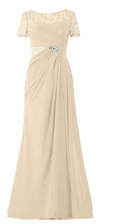 Endofjune Illusion Lace Bateau Neckline Long Mother of the Bride Dress US-6 Champagne * See this great image  : mother of the bride dresses
