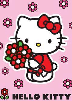 Covor Hello Kitty fetite Red Flower la elefant