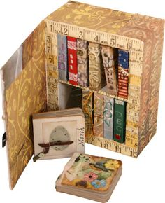 Mini Books of the Year Project by Diane Michioka, Carolyn Fuentes, Linda Tong, and Cher Lashley - Stampington Book Crafts, Paper Crafts, Milk Crates, Book Markers, Album Book, Handmade Books, Paint Pens, Bookbinding, Mini Books