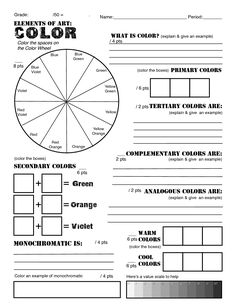 color wheel worksheet 3rd grade - Google Search                                                                                                                                                                                 More