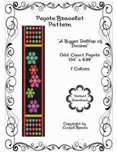 Peyote Bracelet Pattern Daisy Flower Design Miyuki Delica Cylinder Beads by CinfulBeadPatterns on Etsy
