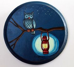Owl and Lantern  - Original Animal Wall Art Acrylic Painting on Wood by Karen Watkins on Etsy, $60.00