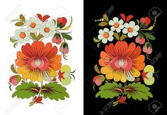 Illustration of traditional Russian painting on the tree folk art vector art, clipart and stock vectors. Art Populaire Russe, Mexican Flowers, Russian Folk Art, Russian Painting, Painting Patterns, Folklore, Photos, Arts And Crafts, Images