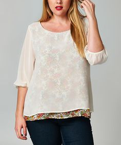 Loving this Cream Sheer Three-Quarter Sleeve Top - Plus on #zulily! #zulilyfinds