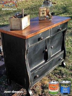 Sweet Threepeats, https://www.facebook.com/sweetthreepeats?fref=ts, refinished this gorgeous buffet using the popular color combo of GF Lamp Black Milk Paint and Java Gel Stain. We'd love to see your projects made with General Finishes products! Tag us with @GeneralFinishes and make sure to let us know which products you used! #generalfinishes #gfmilkpaint #javageln