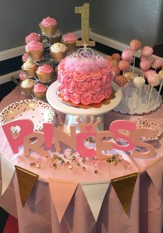 Pink Gold First Birthday Beautiful cake and cupcakes Love the