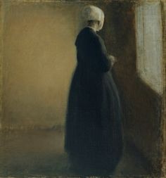 An old woman standing by a window, 1885, Vilhelm Hammershøi