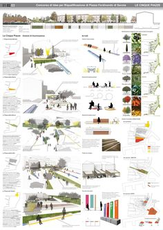 Paola Altamura, Caterina Esposito, Filippo Iacomini · The Five Squares Concept Board Architecture, Site Analysis Architecture, Architecture Presentation Board, Landscape Architecture Design, Architecture Graphics, Landscape Plans, Architecture Portfolio, Architecture Colleges, Masterplan Architecture