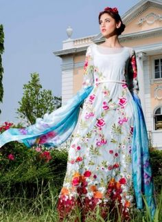 Sky Blue Lawn cotton latest Pakistani style Anarkali frock