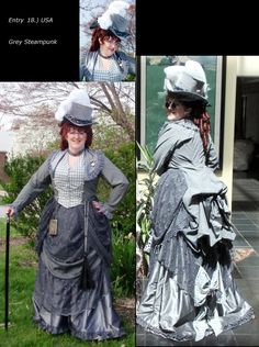 Grey with lace steampunk gown. LOVE the lace overskirt! It looks like a curtain :D