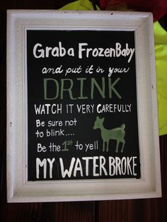 """Little deer themed baby shower.  """"My water broke"""" game rules.  Chalkboard freehand style."""