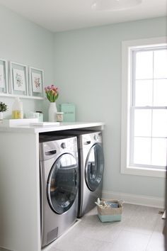 Love the laminate countertop over the washer and dryer. Walls are Sherwin Williams Fleeting Green