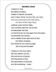printable nicene creed prayer | Tuesday, April 2, 2013