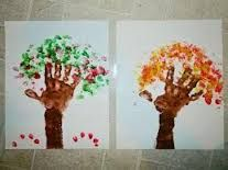 Hand Printed Tree and Finger Print Leaves, Try to Make all Four Seasons. Preschool Projects, Projects For Kids, Diy For Kids, Art Projects, Crafts For Kids, Infant Activities, Craft Activities, Baby Crafts, Fun Crafts