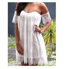 Sexy Boho Laced Off-The-Shoulder Dress S M L Sexy Boho Laced Off-The-Shoulder DressSmallMediumLargePlease see chart above for material and measurementsI'm offering 30% off 2 items or more OR 4/$20 on the red dot items. Also, you can use the red dot items to make my discount of 30% off 2 items or more kick in ONLY 3 LEFT Boutique Dresses Mini