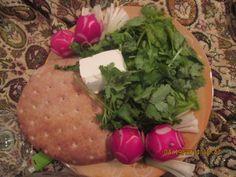 bread sabzi and cheese