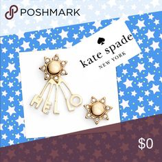 """Kate Spade, cute matching my sunshine earrings Kate Spade, super cute matching my sunshine studs earrings.   Be different! Anchor this playful earring set, while a pretty little ear spells out a cheery """"hello"""". Comes with Kate Spade protective brown jewelry bag.   - 5/8"""" drop; 3/8"""" width - Post back - 14k-gold plate/glass  @posh_808 #Kate Spade New York#jewelry#women fashion #earrings#studs#gold#boho kate spade Jewelry Earrings"""