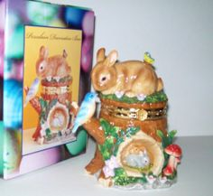 Mother Bunny Hinged Porcelain Trinket Box Protecting Hutch Easter NEW COSTCO