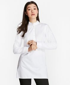 """A sophisticated style staple, this ultra-chic mandarin-collar tunic stays crisp all day, thanks to our innovative non-iron finish. Crafted from dobby-striped cotton, this polished piece features tonal topstitching at the collar and cuffs, plus shell buttons at the half placket. A side split hem provides a classic finish.<br><br>28"""" center back length; machine wash according to care instructions for best performance; imported."""