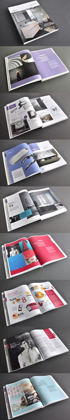 VITRA Retail Catalogue The main objective for VitrA's 2014 retail catalogue was to showcase  trends in bathroom furniture using a magazine format containing interviews with designers and architects, decoration tips, and trend reports. The catalogue is divided into three sections: the Design section showcases famous designers, the Energy section introduces young and sportive products, and the Home section presents products related to family life.