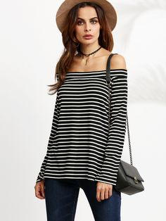 Shop Black And White Striped Off The Shoulder T-shirt online. SheIn offers Black And White Striped Off The Shoulder T-shirt & more to fit your fashionable needs.