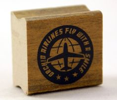 FLY WITH a SMILE Airline Logo with globe by kawaiigoodies on Etsy, $4.95