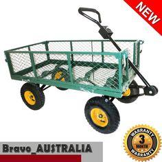 Outdoor Garden Trolley Heavy Duty Mesh Cart On Wheels Carry Wood Wheelbarrow
