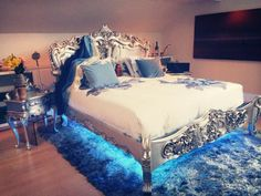 We love our client's new bedroom! That Fabulous & Baroque bed is absolutely stunning!! I have never seen anything else like it! (http://www.fabulousandbaroque.com/collections/silver-shimmer-and-shine/products/royal-fortune-bed-silver-leaf)