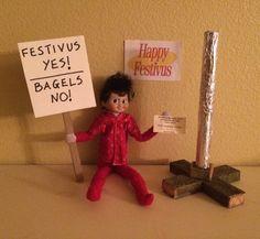 """Heeey, no-bagel-no-bagel-no-bagel-no-bagel-no-bagel, heey!"" #elfwars2015 #happyfestivus #anotherfestivusmiracle #elfontheshelf #Elf #elfontheshelfideas #seinfeld"